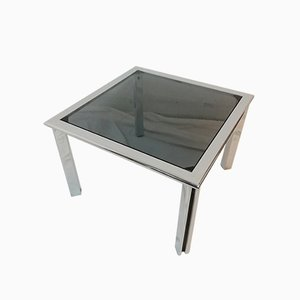 Vintage Chrome Metal and Smoked Glass Coffee Table