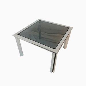 Vintage Chrome Metal and Smoked Glass Coffee Table