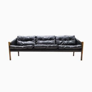 Sofá de tres plazas vintage de cuero
