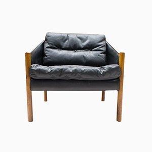 Scandinavian Leather Armchairs, 1960s, Set of 2