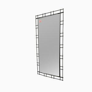 Mid-Century Spiegel mit schwarzen Metallrahmen von FF