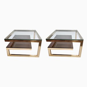 Gilded Coffee Tables from Belgo Chrom / Dewulf Selection, 1970s, Set of 2