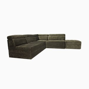 Dark Green Velour Modular Sofa Set, 1964