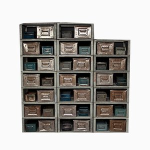 Industrial Metal Shelves with Storage Boxes, 1970s
