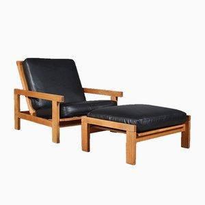 Set aus Modell 412 Sessel & Fußhocker von Hans J. Wegner für Getama, 1970er