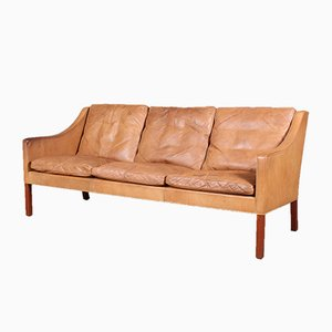 Model 2209 Cognac Leather and Teak Sofa by Børge Mogensen for Fredericia, 1960s
