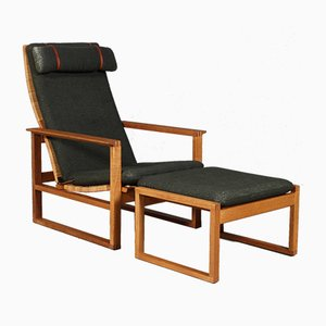 Model 2254 Oak and Cane Sled Lounge Chair & Ottoman by Børge Mogensen for Fredericia, 1970s