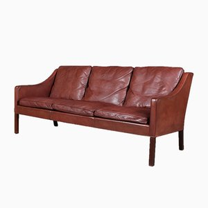 Model 2209 Mahogany and Leather Sofa by Børge Mogensen for Fredericia, 1960s