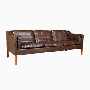 Modell 2213 Sofa aus Teak & Leder von Børge Mogensen für Fredericia, 1970er