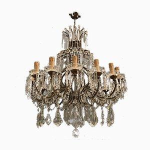 Lámpara de araña italiana grande de cristal, años 40
