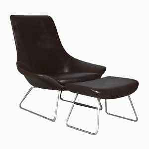 Flow Brushed Steel Lounge Chair & Ottoman by Walter Knoll for Knoll Inc./Knoll International, 2000s