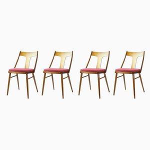 Wood Dining Chairs, 1960s, Set of 4