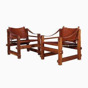 Tansanische Safari Stühle aus Leder & Holz, 1970er, 2er Set