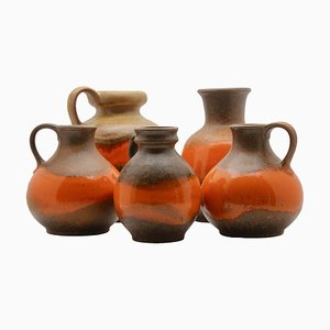 German Fat Lava Ceramic Vases from Steuler, 1960s, Set of 5