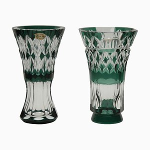 Belgian Crystal Vases from Val Saint Lambert, 1950s, Set of 2