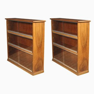 Italian Walnut Bookcases, 1960s, Set of 2