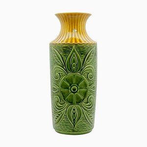 Große Vase in Grün & Gelb von Bay Keramik, 1950er