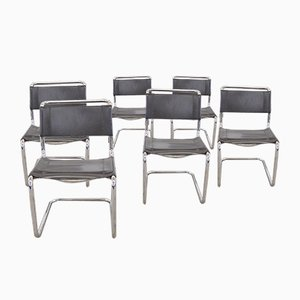 Model S33 Brown Leather Dining Chairs by Mart Stam & Marcel Breuer for Thonet, 1980s, Set of 6
