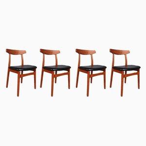 Teak Dinning Chairs by Henning Kjærnulf for Bruno Knudsen, 1970s, Set of 4
