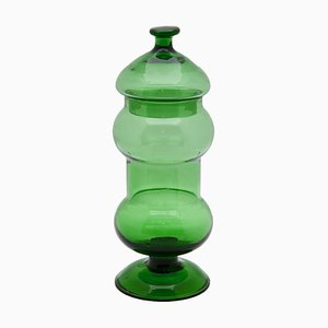 Italian Green Glass Apothecary Jar, 1960s