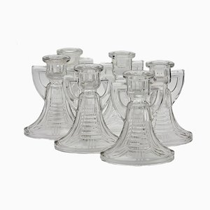 Art Deco Victoria Candleholders by Charles Graffart for Val Saint Lambert, 1930s, Set of 6