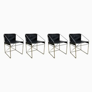 Black Leather and Tubular Steel Dining Chairs, 1960s, Set of 4