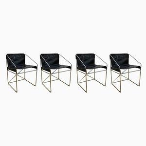 Esszimmerstühle aus schwarzem Leder & Stahlrohr, 1960er, 4er Set