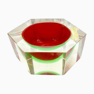 Cuenco italiano de cristal de Murano de Flavio Poli, 1959