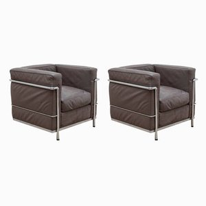 Model LC2 Gray Leather Armchairs by Le Corbusier for Cassina, 1980s, Set of 2