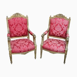 Vintage Italian Giltwood Lounge Chairs, 1930s, Set of 2