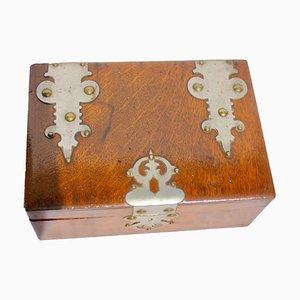 Antike österreichische Kiste aus Metall & Holz