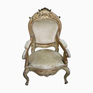 Antique Carved and Gilded Wood Lounge Chair, 1850s