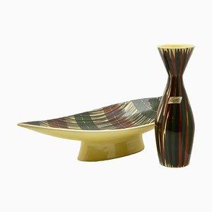 Französische Schale & Vase aus Keramik von Saint-Clément, 1950er, 2er Set