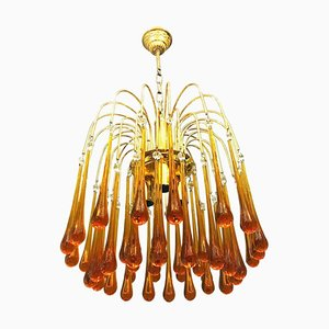 Italian Orange Murano Glass Chandelier by Paolo Venini, 1960s