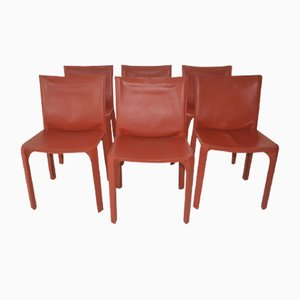 Cognac Leather CAB Dining Chairs by Mario Bellini for Cassina, 1970s, Set of 6