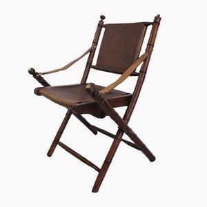 Chaise Pliante en Teck, Laiton et Cuir, 1950s
