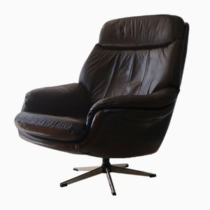 Danish Leather Swivel Lounge Chair, 1960s