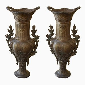 Antique Cast Iron and Marble Vases, Set of 2