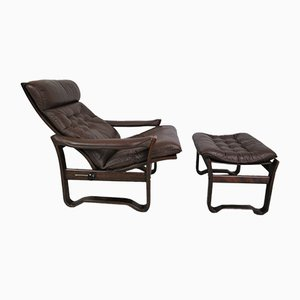 Leather Armchair and Ottoman, 1960s, Set of 2