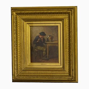 Antique Victorian Oil Painting by William Bromey