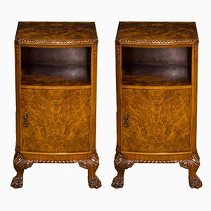 Burr Walnut Veneered Nightstands from Berick Furniture, 1930s, Set of 2