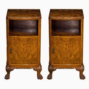 Burr Walnut Veneered Nightstands from Berick Furniture, 1930s, Set of 2