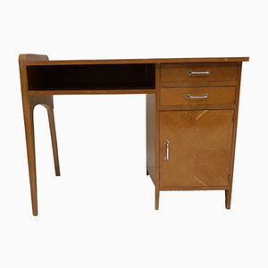 Mid-Century French Beech Veneer Desk, 1950s