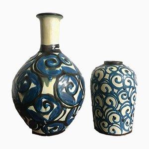 Moderne Keramikvasen im skandinavischen Stil von Herman August Kähler, 1950er, 2er Set