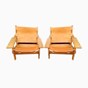 Leather and Oak Model 168 Hunting Chairs by Kurt Østervig for KP Møbler, 1960s, Set of 2