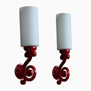 French Cast Iron and Opal Glass Sconces, 1970s, Set of 2