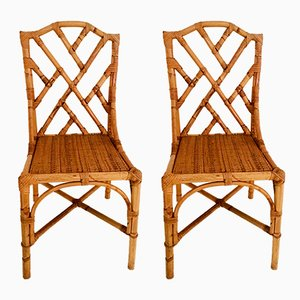 Italian Bamboo and Rattan Dining Chairs, 1960s, Set of 2