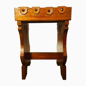 Mid-Century Wooden and Leather Stool