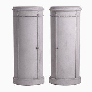 Antike Säulenschränke, 2er Set
