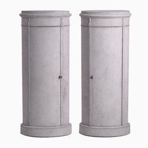 Antique Pedestal Cabinets, Set of 2